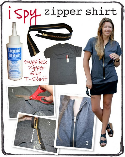 """Zipper shirt tutorial, although I'm worried about the """"zipper boner"""" that usually happens with zippered shirts and hoodies."""