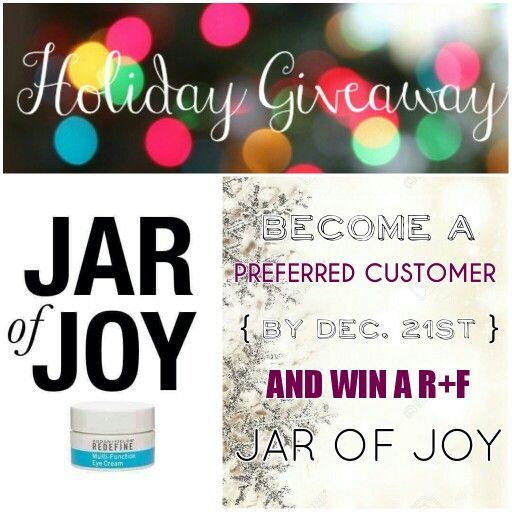 HOLIDAY GIVEAWAY!!! Become a Preferred Customer by Dec. 21st and win a chance to score Rodan and Fields' Multi-Function Eye Cream (aka The Jar of Joy) valued at $60!  Message me for details on how to receive amazing skin care before 2016!  http://kfollins.myrandf.com