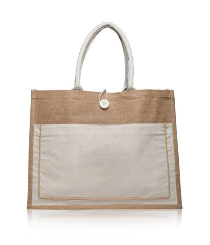 Jute Bag with Natural Pocket - My Vinyl Direct