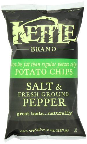 Kettle Potato Chips, Sea Salt and Fresh Ground Pepper, 8-Ounce (Pack of 6)