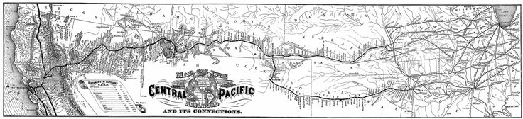 Map detail from Central Pacific Railroad Timetable,  Effective Sunday, July 9, 1871.