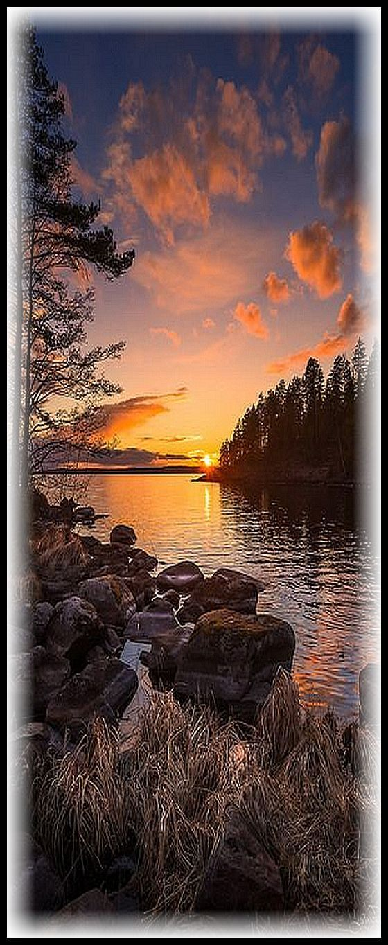 FINLAND ♦♦ Tranquil end of the day ♦♦ This calm sunset occurred over lake Näsijärvi in Teisko, Finland. #photo by  juusooikarinen #Auringonlasku Calm Finland Järvi Kevät Kivi Lake Metsä Näsijärvi Punainen Puu Puut Rauhallinen Red Spring Sunset Suomi Tampere Teisko Tranquil Tree Tyyni Vesi Water dry heinä.hay kuiva rock stone #sunset sun sunrise sunlight sky clouds landscape seascape water lake ocean sea reflection forest stone beach tree nature amazing