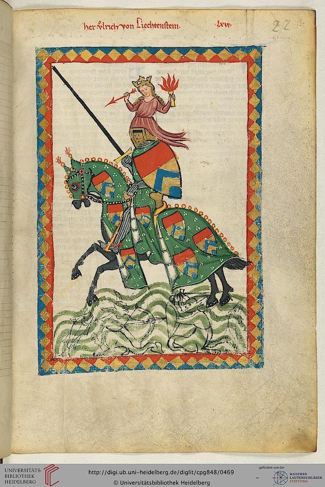 """""""Her Ulrich von Lichtenstein, (1200-1275), Judenburg nahe Graz, Steiermark"""", in """"Heidelberger Liederhandschrift (Codex Manesse)"""", Zürich, ca. 1300-1340"""