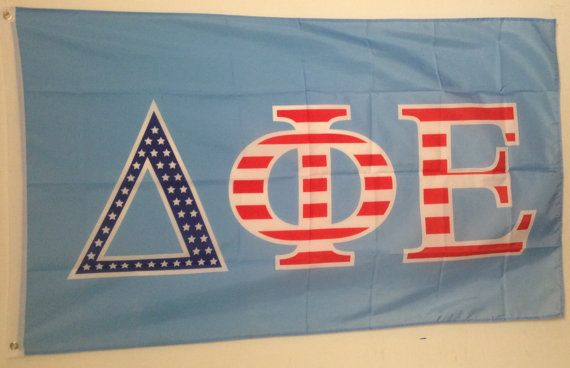 Brothers and Sisters' Greek Store - Delta Phi Epsilon DPHIE Sorority USA Pattern Letter Flag, $24.95 (http://www.brothersandsistersgreekstore.com/delta-phi-epsilon-dphie-sorority-usa-pattern-letter-flag/)