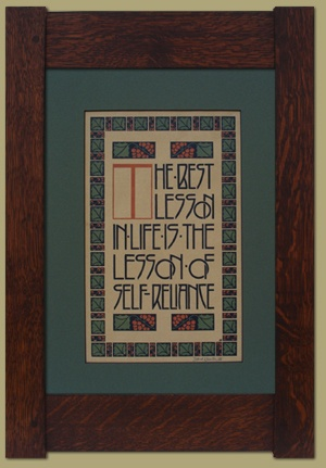 The Best Lesson This motto design was executed by Dard Hunter between 1905 and 1911 for the Roycrofters, and has been reprinted on the same hand press used by Hunter at his Mountain House Studio.