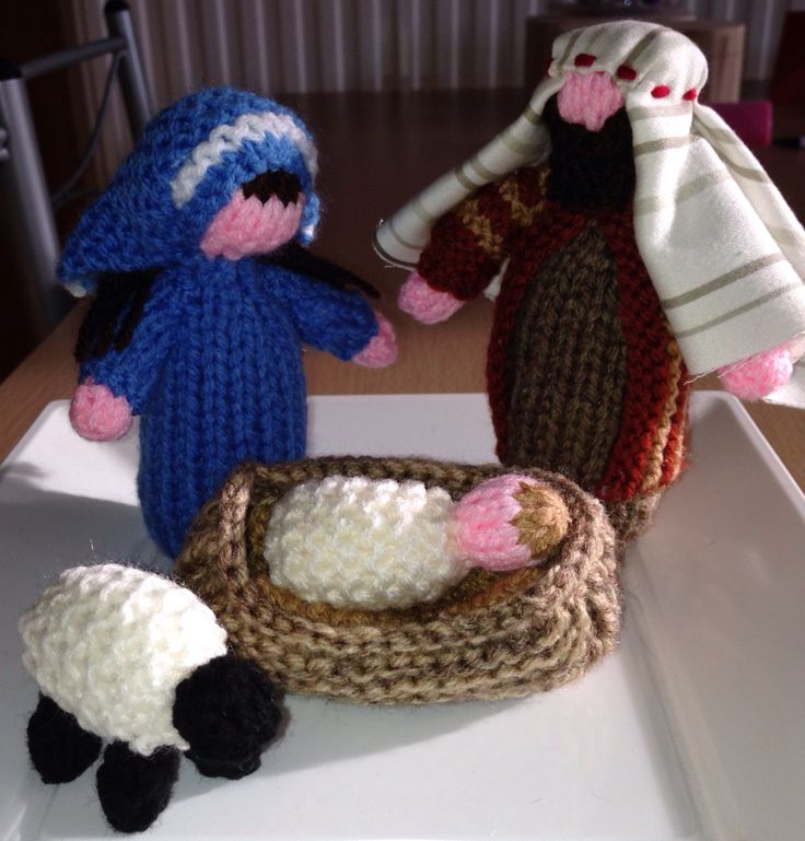 My hand knitted rustic nativity