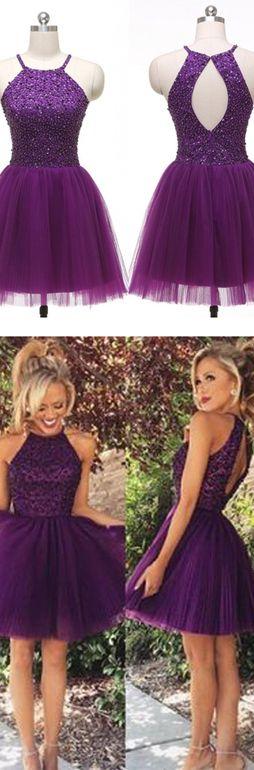$139 2016 Homecoming Dress,Hot Sales Homecoming Dresses,O-back Homecoming Dresses Purple Homecoming Dresses Backless Bodice Grape Short Prom Dress Cheap Homecoming Dress Halter Graduation Dresses Party Dress