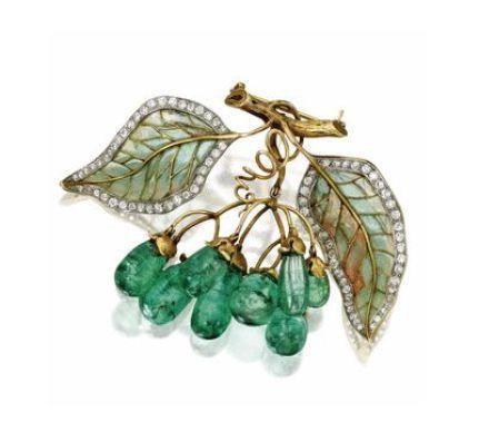 Zlato, Emerald, Diamond, Plique-à-Jour smalt Brož, Marcus & Co., Circa 1900 - Sotheby