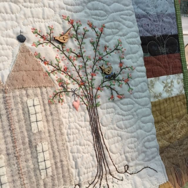 Chateau Hexagon embroidered quilt design by Lynette Anderson