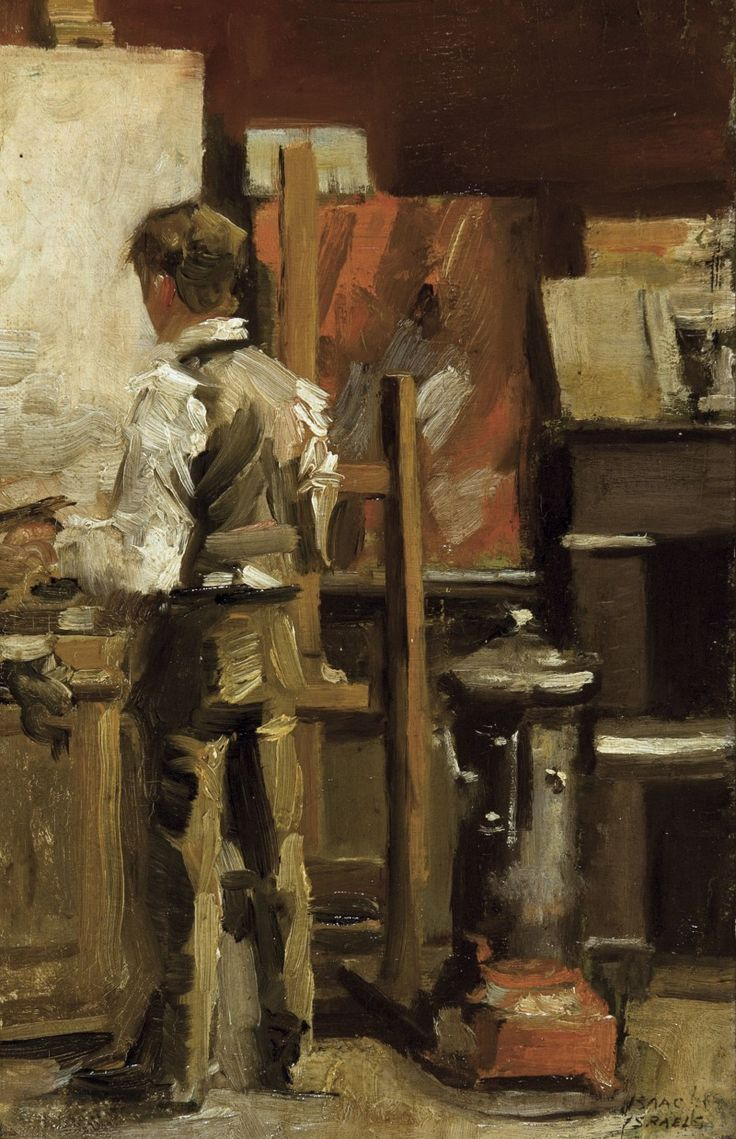 Isaac Israëls (Dutch, 1865-1934), The painter in his studio. Oil on panel, 32 x 21 cm.