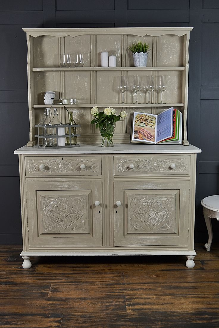 this antique oak kitchen dresser has been painted in farrow ball shaded white over lime - Kitchen Dresser