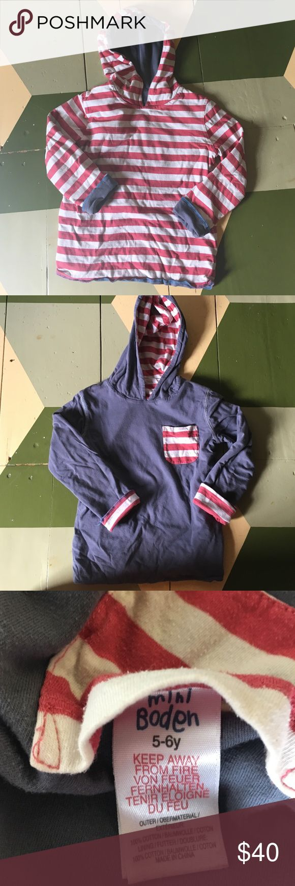 Mini Boden Boys reversible hoodie Sz 5-6 Adorable mini Boden boys hoodie, reversible with red and white stripes or gray depending on side worn Mini Boden Shirts & Tops Sweatshirts & Hoodies