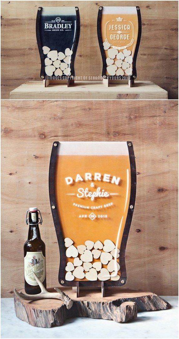 beer drop hearts wedding guest book / http://www.deerpearlflowers.com/rustic-country-wood-wedding-guest-books/