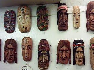 Máscaras de madera mapuches