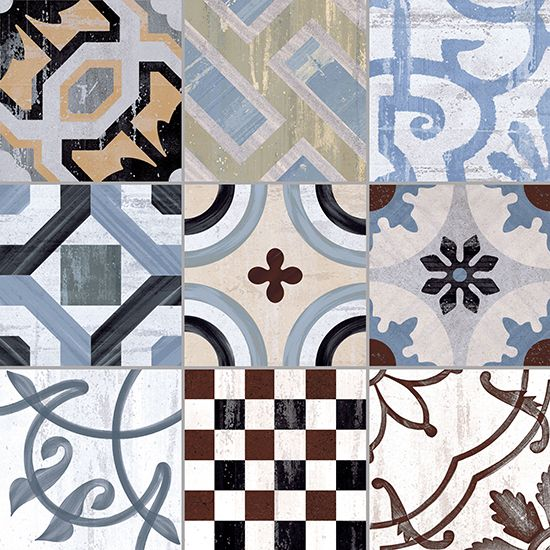 Porcelain stoneware floor tiles Cementine 20 Collection by Ceramica Fioranese