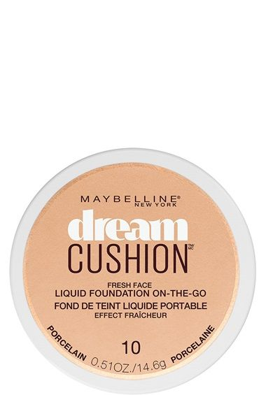 Dream Cushion Luminous Liquid Foundation by Maybelline. Made for all skin types with medium to full coverage to smooth and even skin tone for luminous skin.