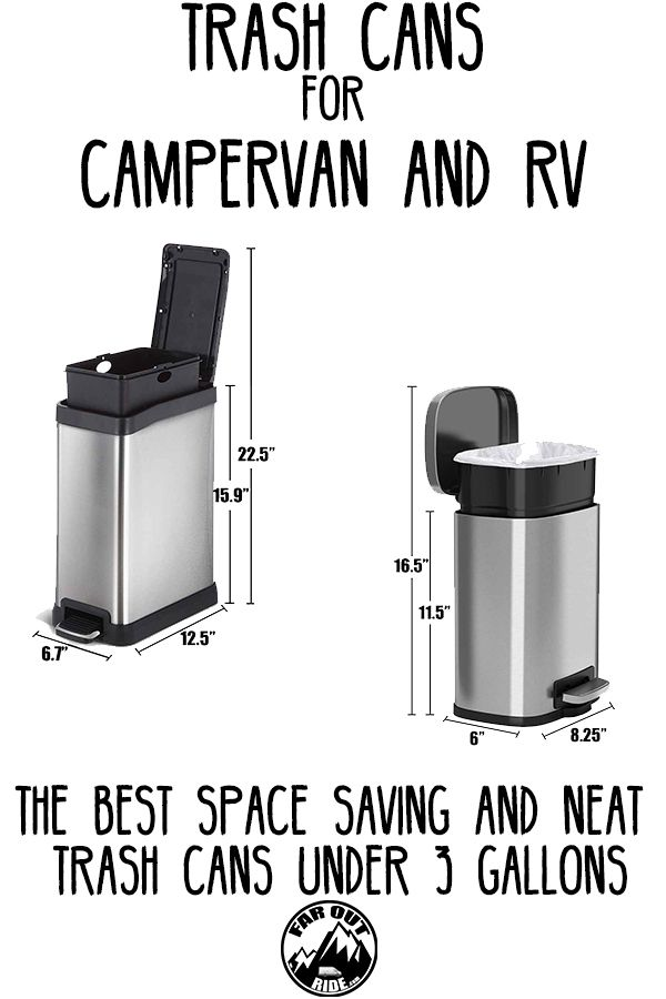 Trash Cans For Camper Van And Rv Small And Space Saving Trash Cans Under 3 Gallons Faroutride Rv Van Life Trash Cans 13 gallon trash can dimensions