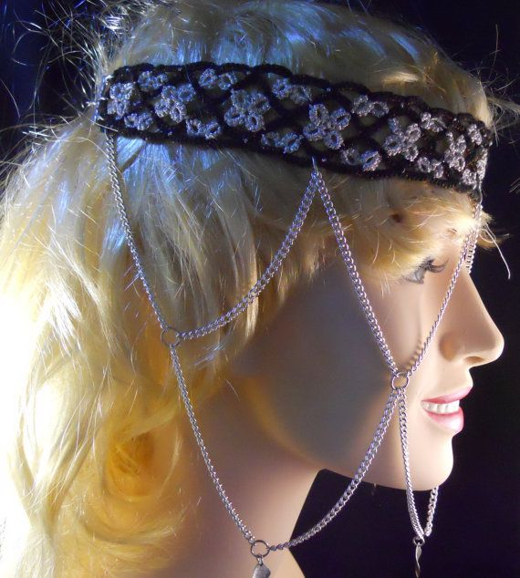 Silver and Black Tatted Headband With Silver by MummyearthDesigns
