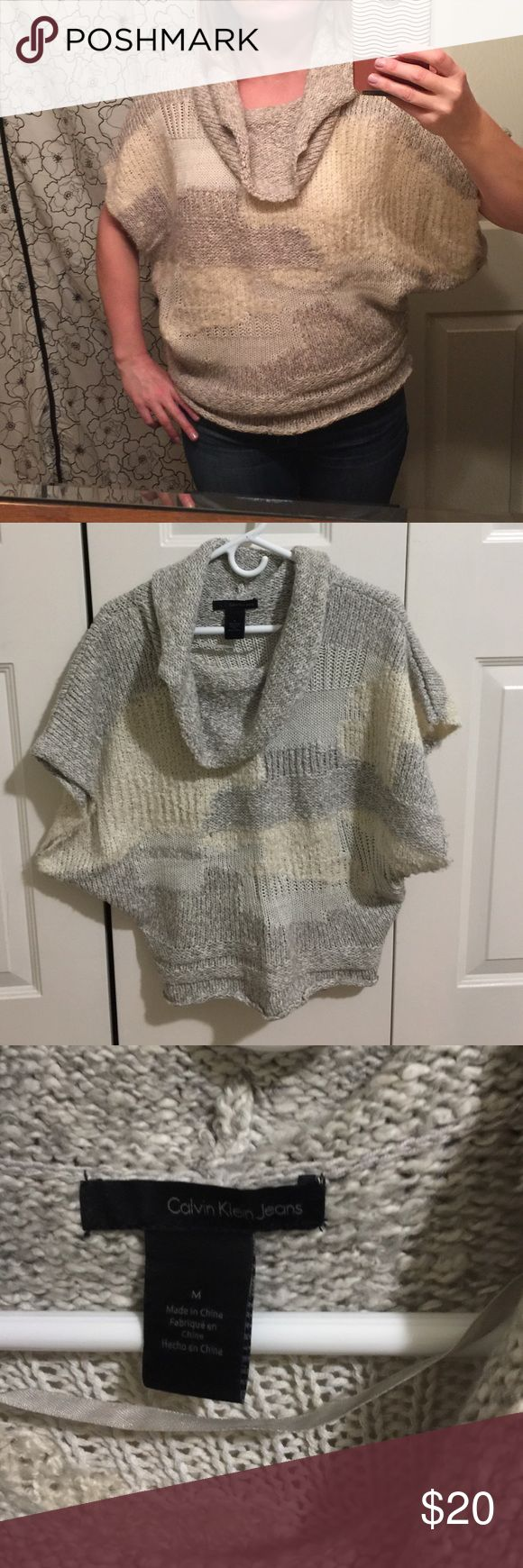 Calvin Klein sweater poncho Excellent condition Calvin Klein short sleeve sweater poncho! Calvin Klein Jeans Sweaters Shrugs & Ponchos
