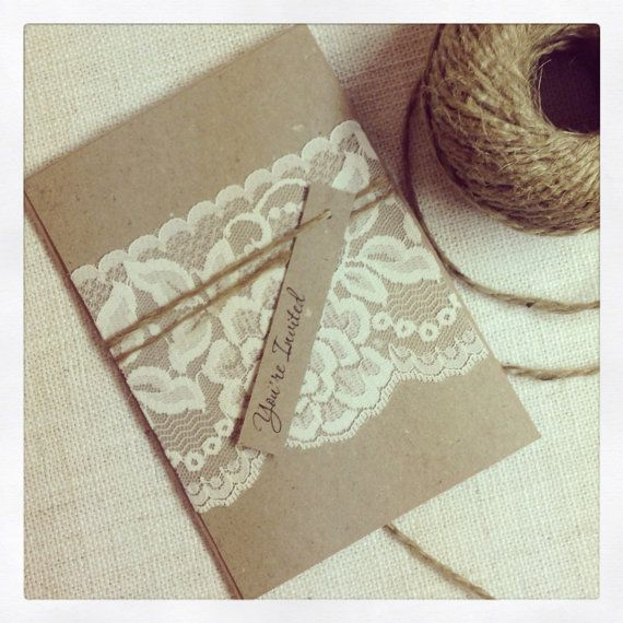 Rustic Wedding Invitations and RSVP cards - Rustic Vintage Lace on Etsy, £211.56