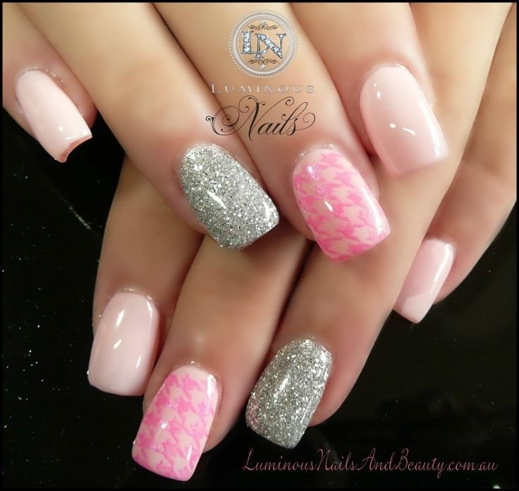 10 best acrylic nail designs images on pinterest lumious nails and beauty gold coast queensland acrylic nails gel nails sculptured acrylic with pink smoothie gel silver glitter houndstooth print prinsesfo Gallery