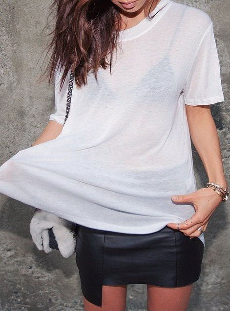 Minimal + Chic outfit inspiration.  Leather skirt with a simple, oversized t shirt.