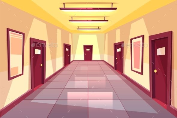 Vector Cartoon Hallway Corridor with Many Doors Cartoon background Anime backgrounds wallpapers Architecture background