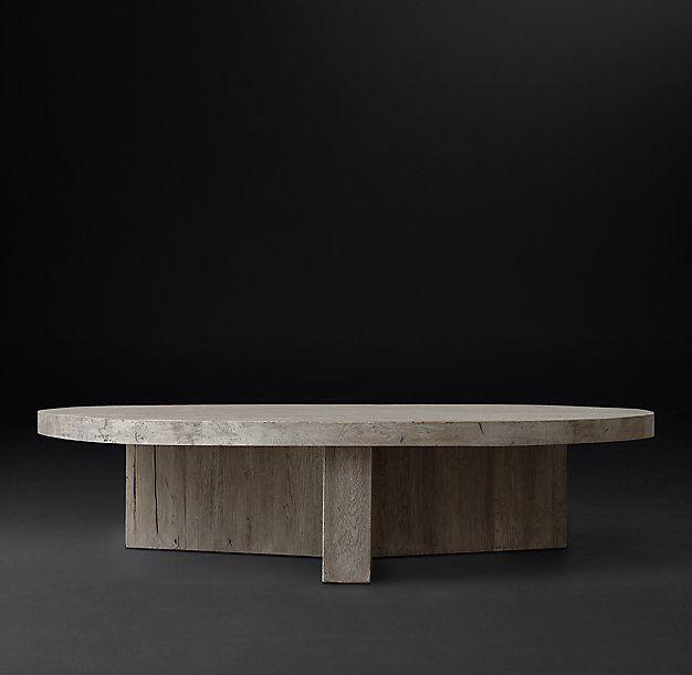 Reclaimed Russian Oak Plank Round Coffee Table