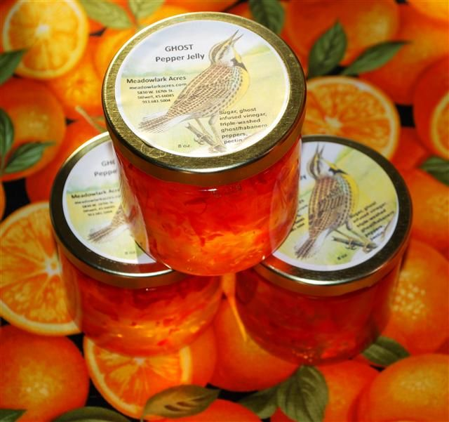 Ghost Pepper Jelly ('Bhut Jolokia')      The second hottest pepper on record, it clocks in at over a million Scoville units.  This jelly is fiery hot and intended for those who love hot food and like a challenge.  To tame it a bit, put a spoonful or two over cream cheese.