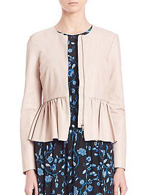 Rebecca Taylor Peplum Leather Jacket - Pale Blush - Size 10