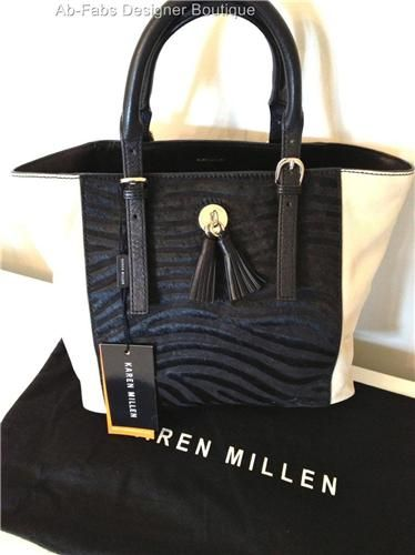 KAREN MILLEN GQ073 Suede & Leather Zebra Print Tote Bag Colour Block Black Cream - Karen Millen Dresses UK Ab-Fabs Designer Boutique