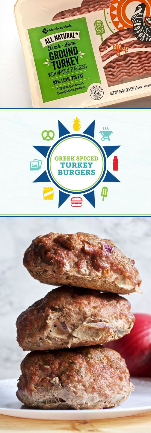 When it comes to recipes for outdoor entertaining this summer, you can never have too many delicious burger recipes to try! Before your next grill-out, grab everything you'll need—like ingredients for these Greek Spiced Turkey Burgers and different flavors of vitaminwater zero®—from Sam's Club to get started. Now all that's left is to fire up the barbecue and invite friends and family to enjoy the beautiful weather.