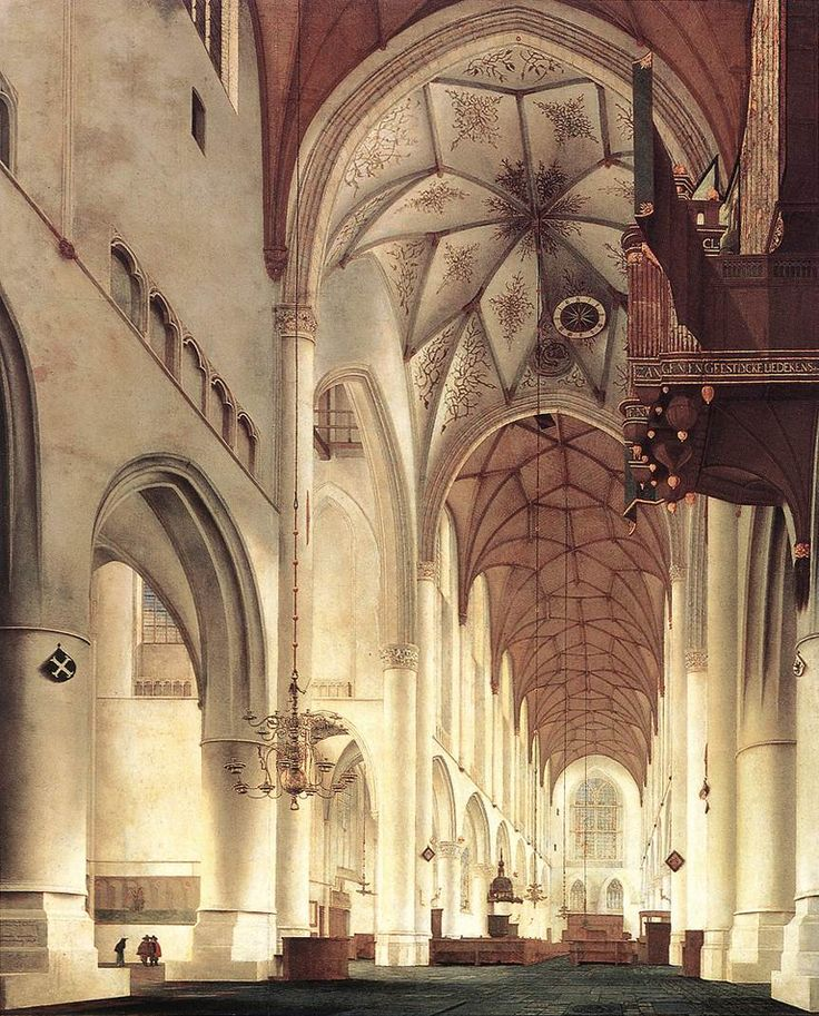 Pieter Jansz Saenredam, Interior of the Church of St Bavo in Haarlem, 1648.  National Gallery of Scotland, Edinburgh. #saenredam #franshalsmuseum #art #haarlem