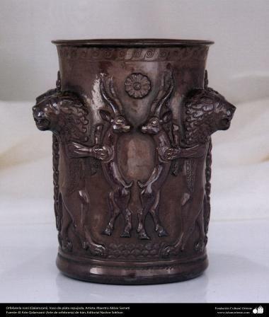 Orfebrería iraní (Qalamzani) Vaso de plata repujada -50