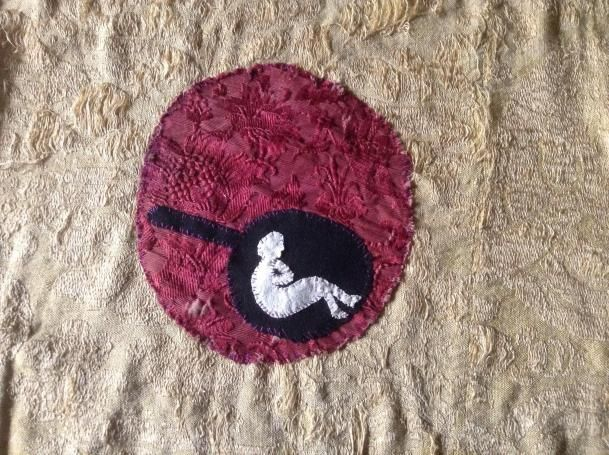 Irina Zatulovskaya. A Self-portrait on a Frying Pan. 2017. Embroidery, Venetian silk, wool, cloth, gold. Courtesy of the artist
