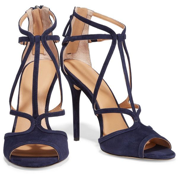 Halston Heritage - Monica Suede Sandals ($178) ❤ liked on Polyvore featuring shoes, sandals, suede sandals, navy shoes, high heels sandals, navy blue sandals and multi color sandals