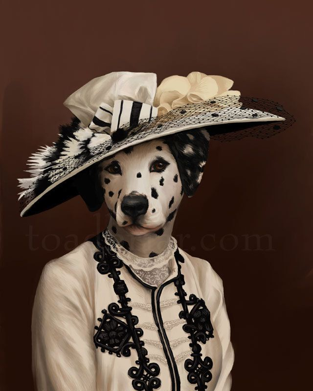 From Kim Parkhurst and her amazing 'Houndton Tabby' series: Cora Lady Grantham Dalmatian Portrait Downton Abbey by toadbriar, $22.00