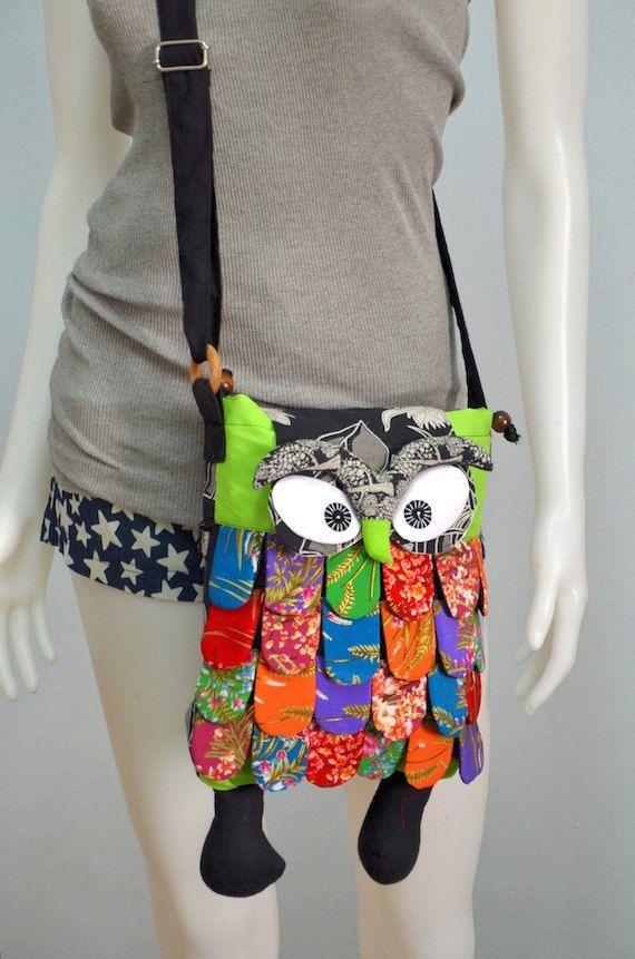 Large - Lime Thai Unique Hip Bag Handmade Owl Patchwork Crossbody Bag Messenger