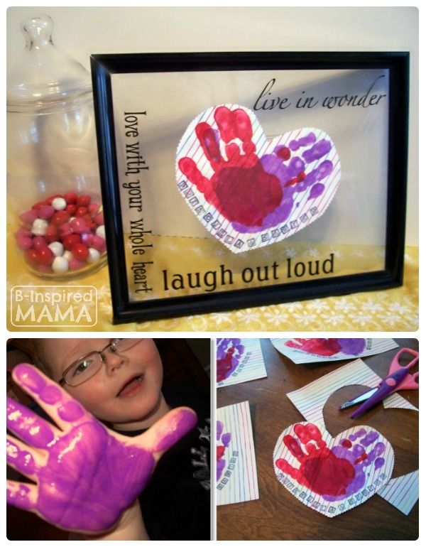 Aren't handprint crafts the BEST?!  A Preschool Valentines Craft - Handprint Hearts - B-InspiredMama
