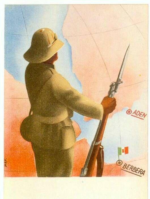 """In occasione della breve conquista di Berbera, il capoluogo della Somalia inglese.  L'occupazione di Berbera durò dall' agosto 1940 al marzo 1941. L' Esercito fascista aveva attaccato la Somalia inglese con un """"Corpo di Operazione"""" comandato dal Generale Nasi (Comandante militare in Africa Orientale) e composto da un totale di 26 Battaglioni, dei quali tre di italiani e 23 di coloniali, per una forza complessiva di circa 35.000 uomini (dei quali 30.000 coloniali)."""