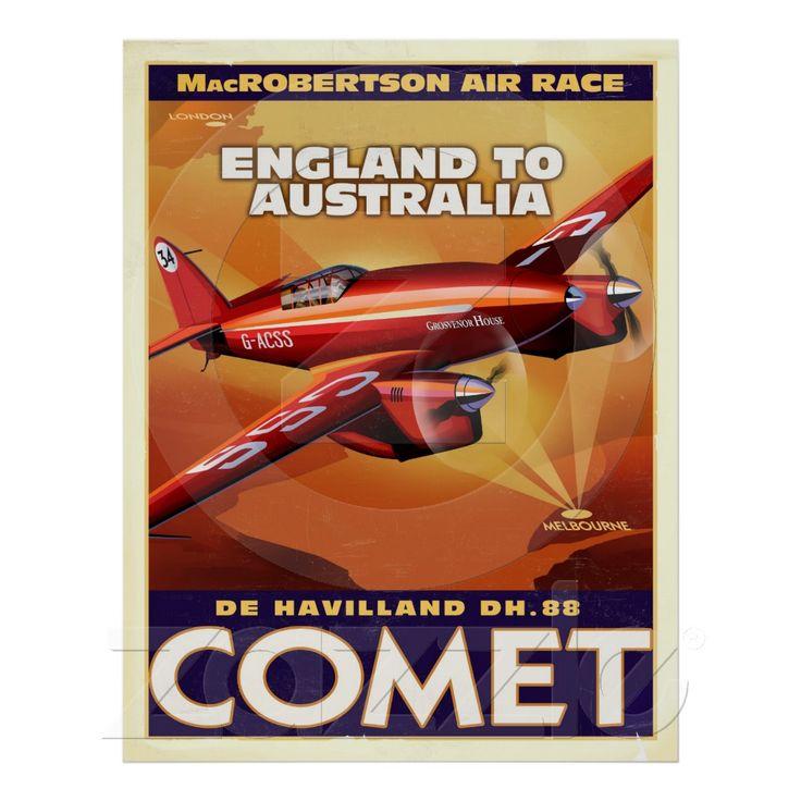deHavelland DH88 Comet Air Racer Posters - Zazzle.com.au