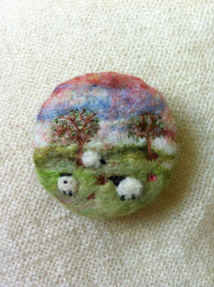 """Miniature Landscape -  1.75"""" - Needle Felted Sheep Brooch With Trees"""