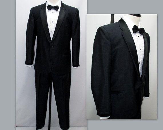 Vintage 60s Black Tuxedo Rat Pack Tuxedo by RosasVintageFinds
