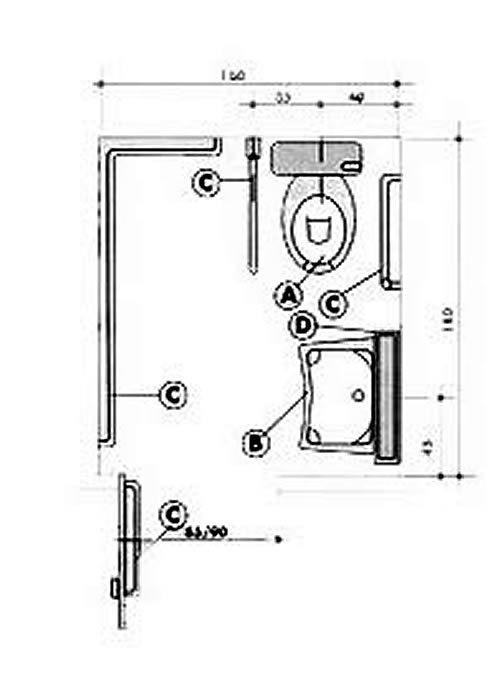 Plano de un aseo accesibilidad bathroom toilet y for Inodoro minusvalidos