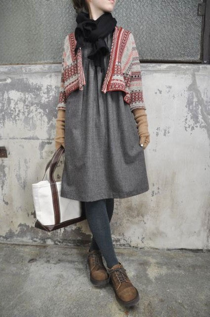 flannel dress + unstructured cardigan love this lpok