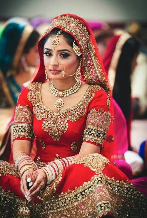 Punjabi Bride. I love the design. Would be so cute as a mehendi dress if it was available in another color