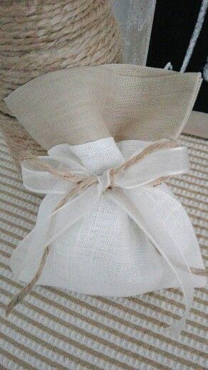 Sacchetto lino bicolore