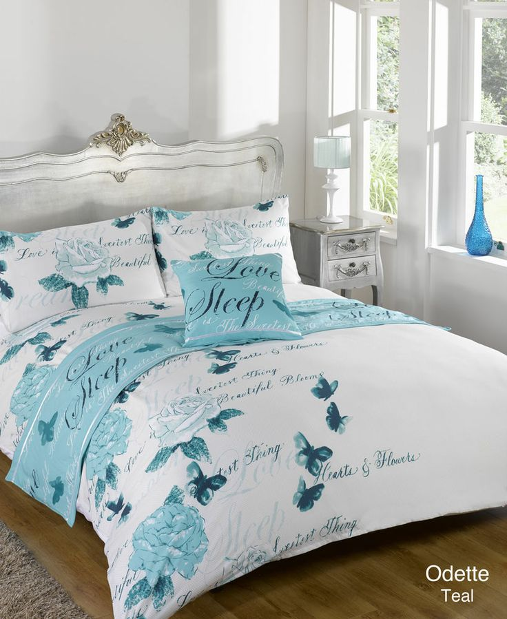 Odette, Teal, Bed In A Bag, Duvet Quilt Cover Bedding Set