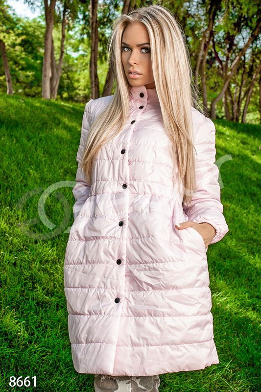 Пальто стеганное розовое