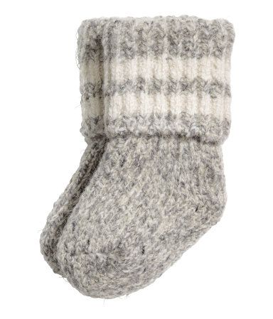 Gray melange. Knit ragg socks in a wool blend with ribbing at top.